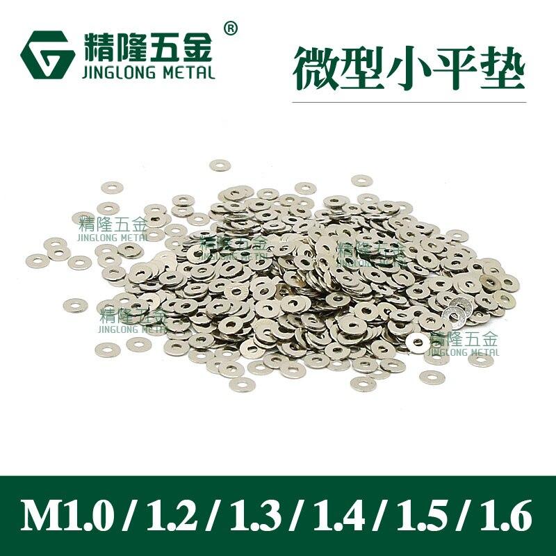 100pcs Miniature Flat Washer M1.4 M1.6 1.7 Gaskets Precision Flat Pad Gasket Nickel / Black Color
