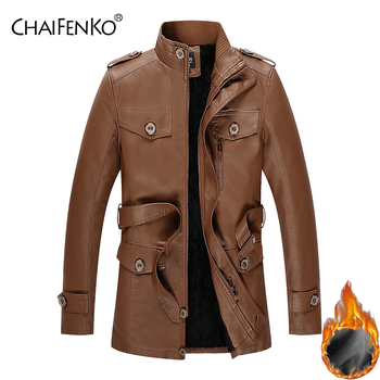 CHAIFENKO Winter Fleece Warm Men Leather Jacket Motorcycle Stand Collar Faux Fur Leather Jacket Men Fashion PU Thick Jacket Coat thick fur collar boys girls leather jacket for autumn winter kids warm fleece stylish coat bomber kids jacket toddler girl