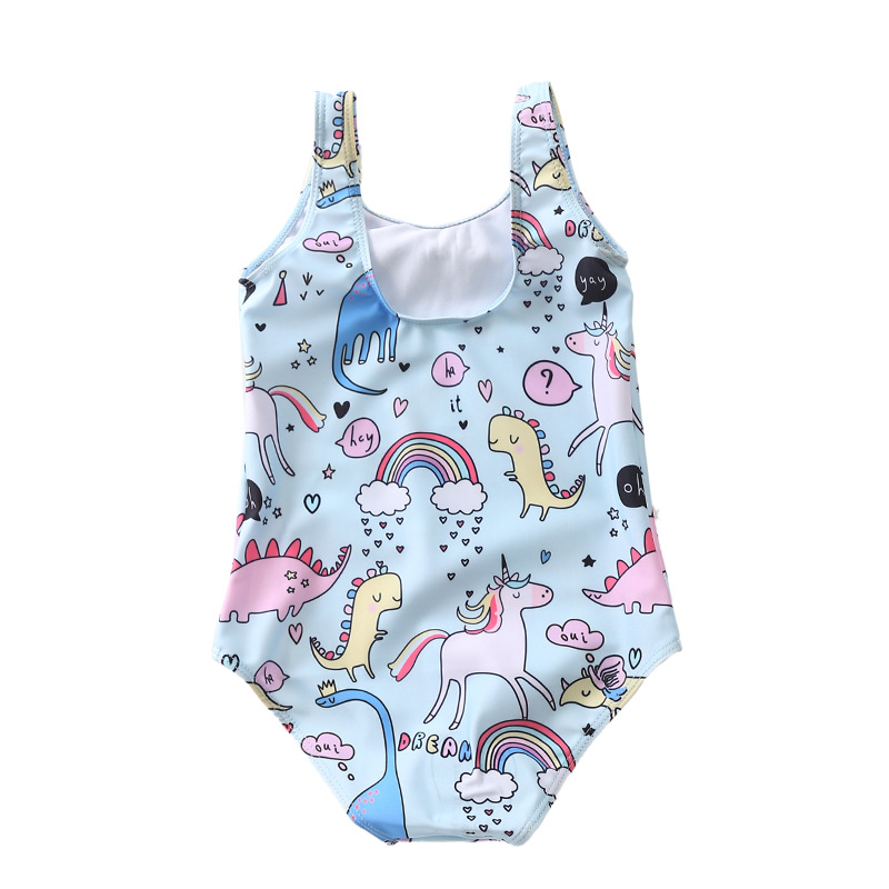 Spain Children Unicorn Zoo White Horse Printed One-piece Beach Holiday Bathing Suit Clothing Swimwear