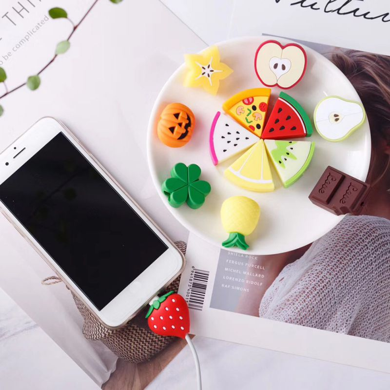 Cute Fruit Phone USB Cable Protector For IPhone Cable Chompers Bite Wire Charger Holder Organizer Protection