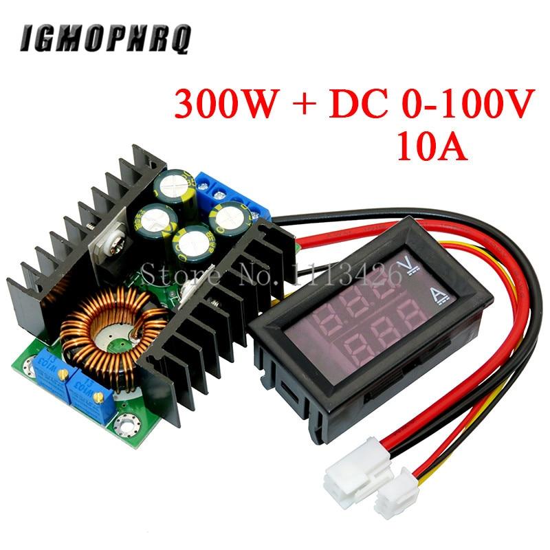 Módulo de potência dc 0-300 v 10a digital voltímetro amperímetro display duplo conversor de impulso da c.c. 9a 150w 100 w