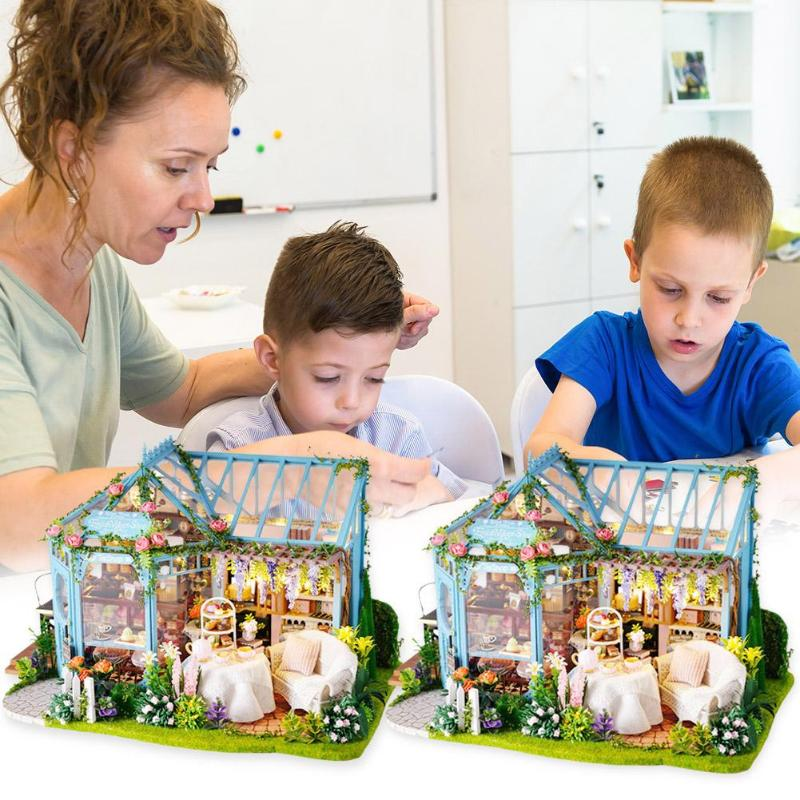 Children Adult Miniature Wooden Doll House Model Develop Children's Intelligence Practical Ability Building Kits Dollhouse Toy