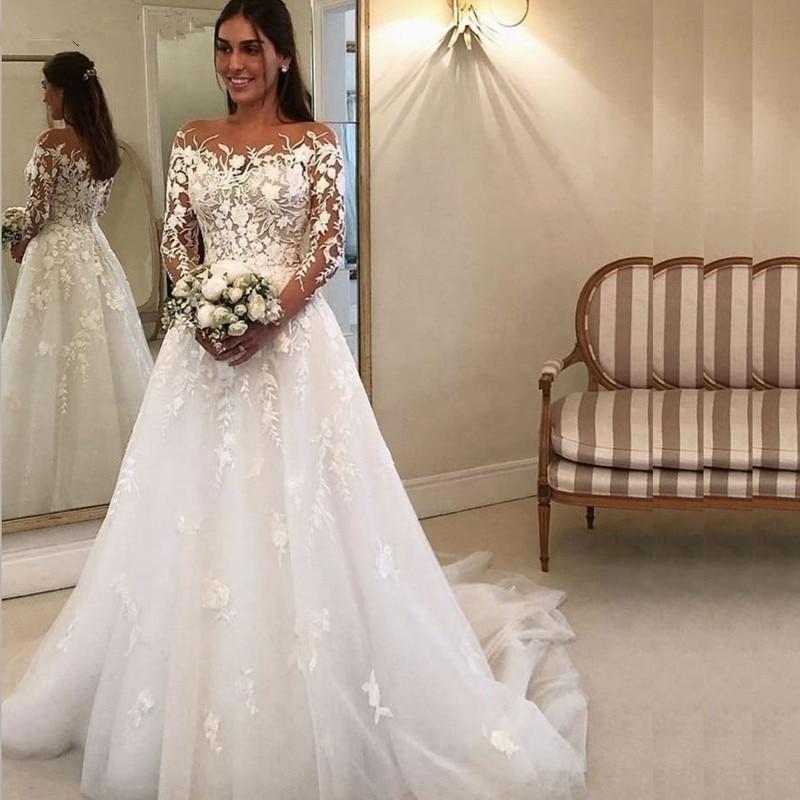 Ivory Bride Dress Lace Appliques Wedding Gowns Casamento Wedding Dress New Arrival Long Sleeve Wedding Dresses 2019
