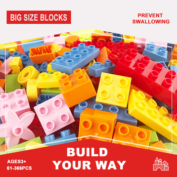 61-366 sztuk duży rozmiar DIY kreatywne cegły klasyczny montaż duże cząstki luzem kolorowe klocki zabawki edukacyjne dla dzieci prezent tanie i dobre opinie 4-6y 7-12y 12 + y CN (pochodzenie) Kompatybilne z lego Duplo Unisex Micro building block Big building block( 1cm) 61pcs 122pcs 183pcs 244pcs 305pcs 366pcs