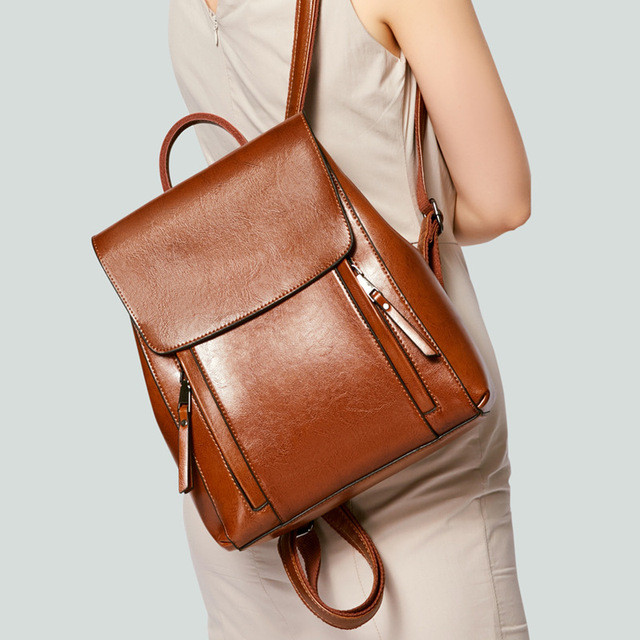 Women oil wax cowhide backpacks vintage female shoulder bag school bags genuine leather knapsack girls casual daypack rucksack