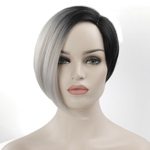 Short Black Wigs For Women Synthetic Hair Wigs Female Heat Resistant Fiber Color Ombre Grey Wig Cosplay(China)