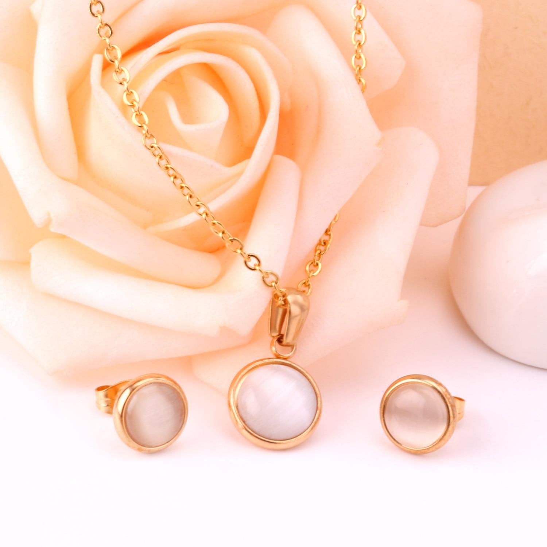 LUXUKISSKIDS Opal Shell Dubai Wedding Bridal Christmas Jewelry Sets Pendant Necklace Earring Women Gold Indian Jewellery Set
