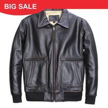 2020 Vintage Black Men American Pilot Leather Jacket Plus Size XXXL Genuine Cowhide Autumn Aviator Leather Coat FREE SHIPPING