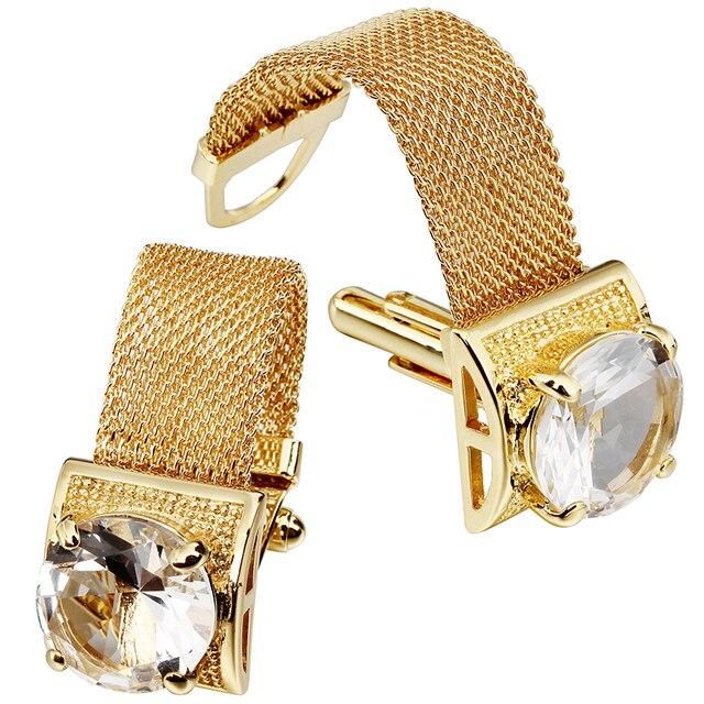 HAWSON boutons de manchette pour hommes avec chaînes, pierres en or brillant et accessoires de chemise, cadeaux de fête pour jeunes hommes