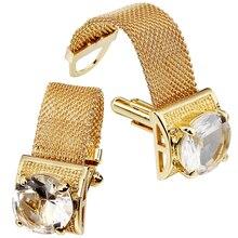 HAWSON erkek kol düğmeleri zinciri ile taş ve parlak altın ton gömlek aksesuarları parti hediyeler genç erkekler için