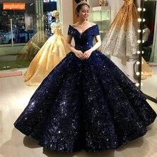 Модное темно-синее бальное платье, вечерние платья, милое шикарное длинное торжественное платье с открытыми плечами, праздничные женские вечерние платья по индивидуальному заказу