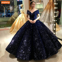 Fashion Dark Navy Ball Gown Evening Dresses Sweetheart Bling Off Shoulder Long Formal Dress Gala Customized Women Party Gowns
