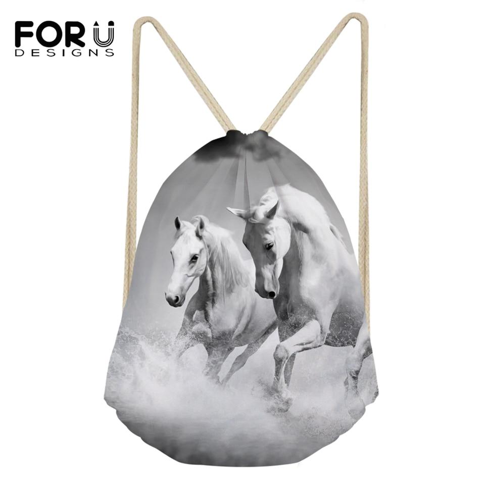 FORUDESIGNS/модные мини-сумки с рисунками лошади фантазия, Белая обувь с карманами и рисунками животных для девочек рюкзак для путешествий