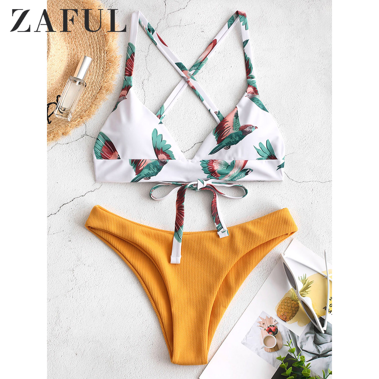 ZAFUL Women Bikini Swimsuit Bird Color Block Criss Cross Bikini Set Lady Sexy Swimwear Summer Beach Bathing Suit