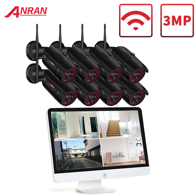 Anrun 3MP 4CH كاميرا مراقبة للمنزل نظام مقاوم للماء في الهواء الطلق للرؤية الليلية واي فاي كاميرا IP مع 15 بوصة رصد 1 تيرا بايت HDD NVR أطقم