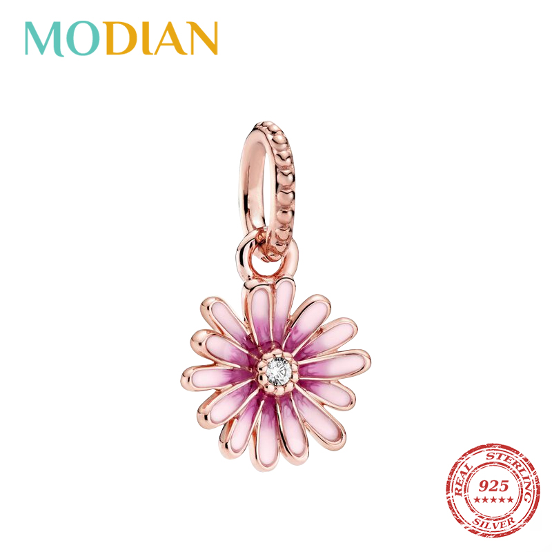 Modian 2020 New Fashion Pink Daisy Enamel Pendant Charm For Original Bracelet Or Necklace 925 Sterling Silver Jewelry Design