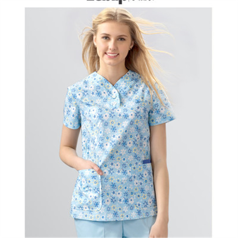 Nurse's Coat Women's Summer Short-sleeved Hand-washing Clothes Printed Inside The Dress Maternity And Beauty Hospital Work Cloth
