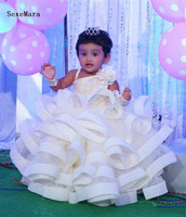 Cute Ball Gown Baby Girls Clothes With Organza Ruffle One Shoulder Beaded Girls Pageant Birthday Dresses For toddler