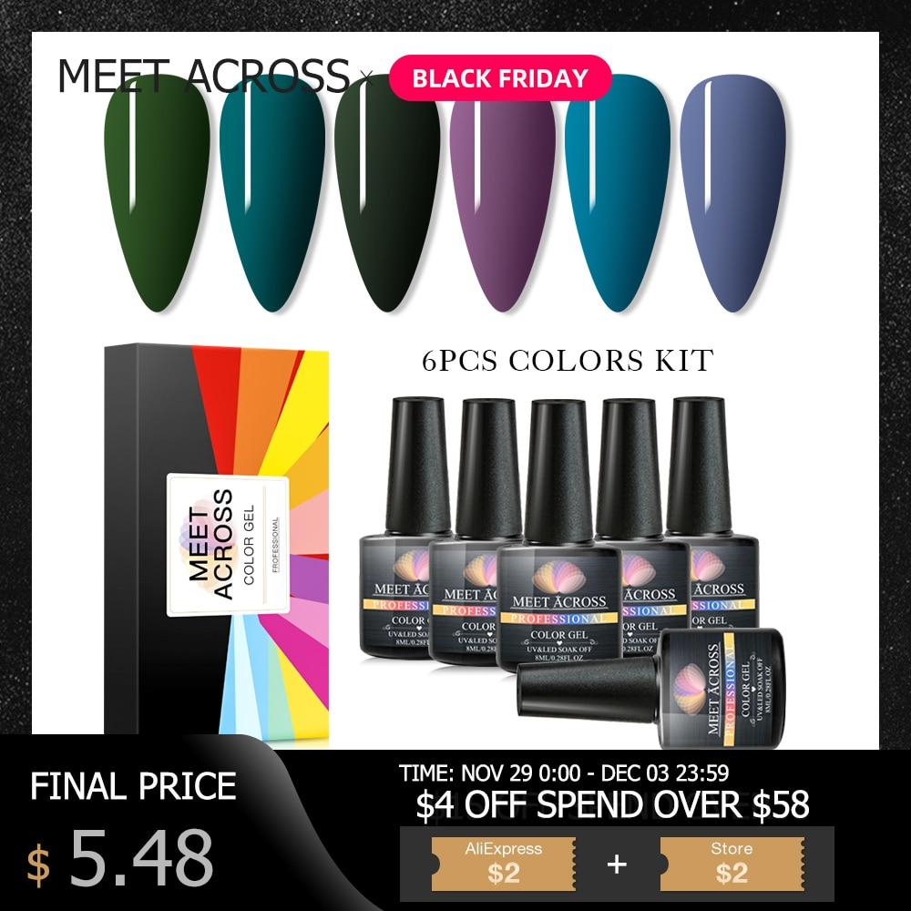 MEET ACROSS Gel Nail Polish Nail Kits 6pcs Pure Colors UV Gel Varnish Set Long Lasting Soak Off Nail Art Lacquer Manicure Set