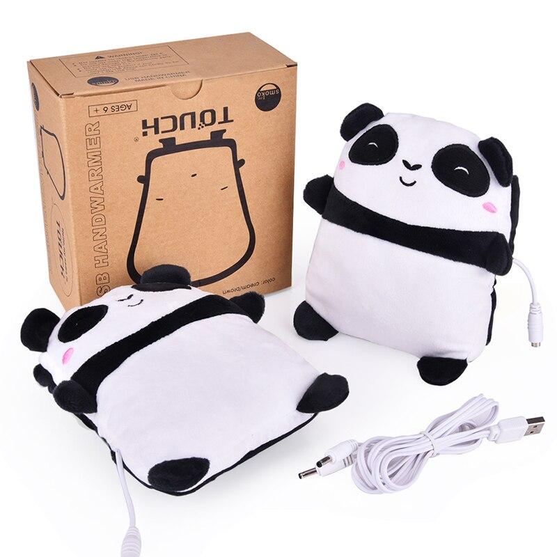 1Pair USB Panda Shape Warm Gloves Heated Hand Warmer Heating Half Finger Winter Warm Gloves For Office Christmas Gift
