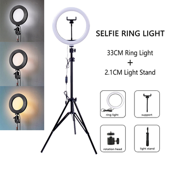 Możliwość przyciemniania LED Selfie lampa pierścieniowa ze statywem USB lampa leddo smartfona lampa pierścieniowa duża fotografia Ringlight ze stojakiem na telefon komórkowy Studio tanie i dobre opinie ZZMA CN (pochodzenie) Bi-color 3200 K-5600 K Ring Lamp Bi-color 3200K-5600K white light warm light soft light USB charge