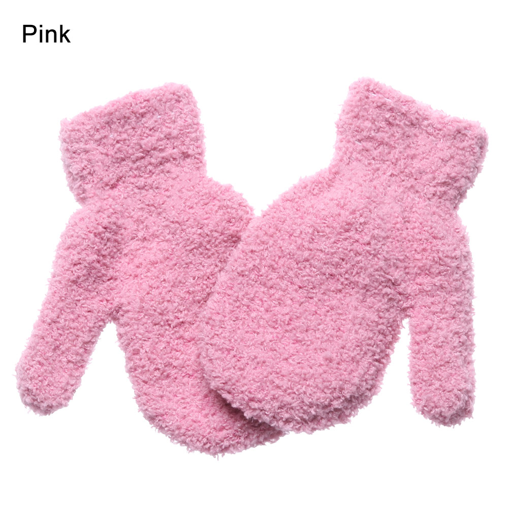 0-4 Years Old Kids Winter Soft Warm Coral Plush Mittens Gloves Baby Full Fingers