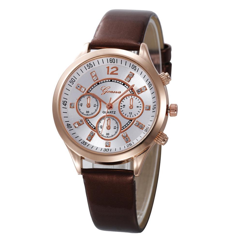 Solid Color Brown Faux Leather Band Quartz Round Case Men Women Wrist Watch Couple Watch Male Female Relógio De Casal