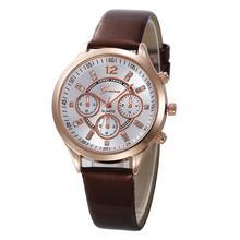 Solid Color Brown Faux Leather Band Quartz Round Case Men Women Wrist Watch Coup