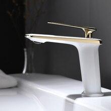Золотой и белый цвет, кран для умывальника, раковины, раковины, санузел, одно отверстие/ручка, смеситель, на бортике, дизайн