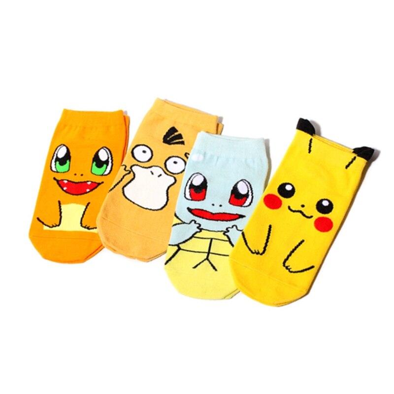 Japan Harajuku Print Cute Pikachu Women Socks Cotton Spring Novelty Cartoon Animal Pattern Calcetines Mujer Sokken
