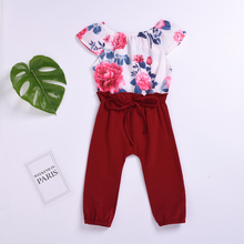 Infant Toddler Baby Girls Romper Summer Flower Print Jumpsuit One Piece Playsuit Outfit Girls Romper Cotton Jumpsuit Outfits girls sheep print ringer romper