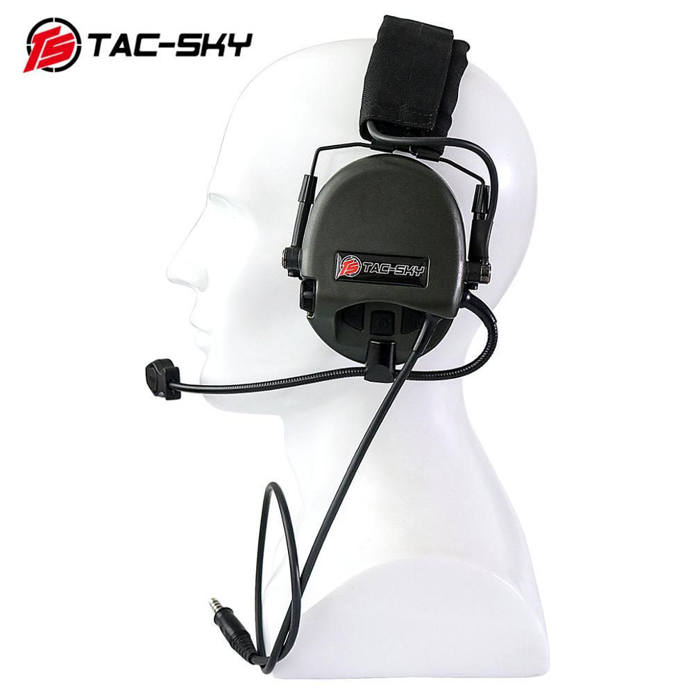 Купить с кэшбэком TAC-SKY TEA Hi-Threat Tier 1 Silicone Earmuff Hunting Sports Noise Reduction Tactical Headphones + KENWOOD U94 PTT