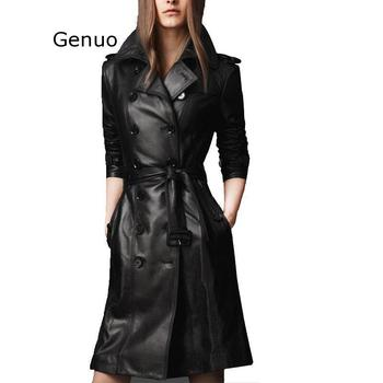 Spring Autumn Black Double-breasted Faux Pu Leather Trench Coat Waistband Women Full Sleeve Trench Europe Style Pu OverCoat wotwoy autumn safari style casual women trench coat raglan sleeve double breasted belt pockets trench turn down collar top women