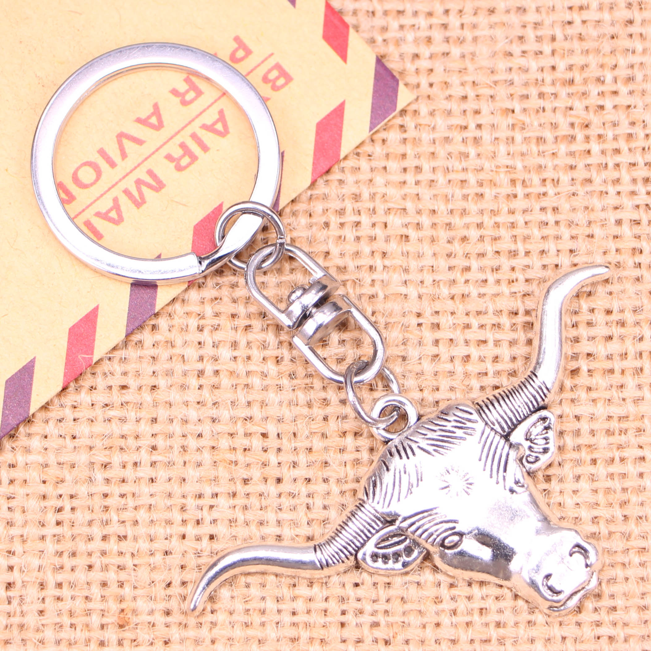Enthusiastic Fashion Keychain 60*31 Mm Longhorn Bull Steer Head Pendants Diy Men Jewelry Car Key Chain Ring Holder Souvenir For Gift Promoting Health And Curing Diseases