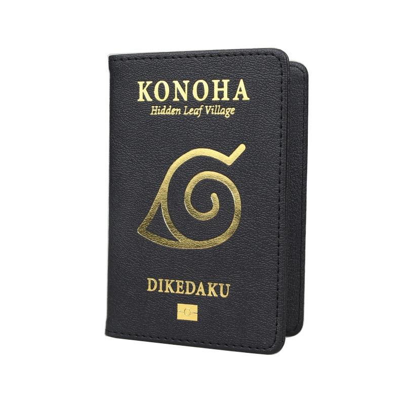 Naruto Konoha Rfid Passport Cover Black Gold High Quality Pu Leather Passport Holder Hidden Leaf Village Travel Passport Wallet