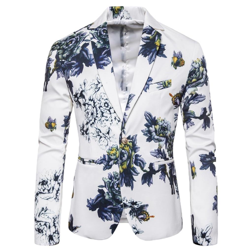 KLV Men Suit Jacket Suit Jacket Men's Stylish Casual Print Blazer Business Wedding Party Outwear Coat Suit Tops Free Shipping D4