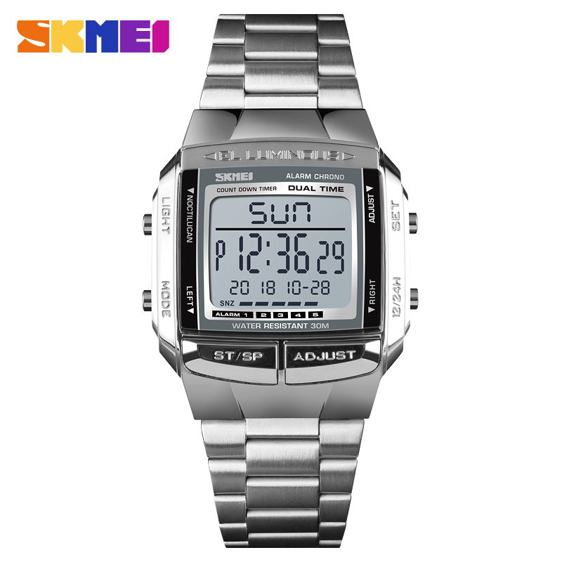 <font><b>SKMEI</b></font> Steel Band Quartz Digital Sports Watches Top Brand Men LED Electronic Waterproof Watch TOP Male Clock Relogio Masculino image