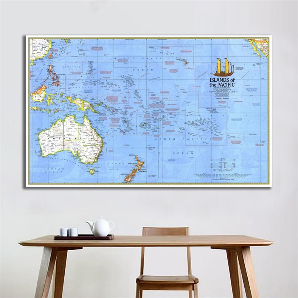 60x90cm HD Fine Canvas Spray Painting Map Of The Islands Of The Pacific Ocean Creative Wall Map For Home Decor