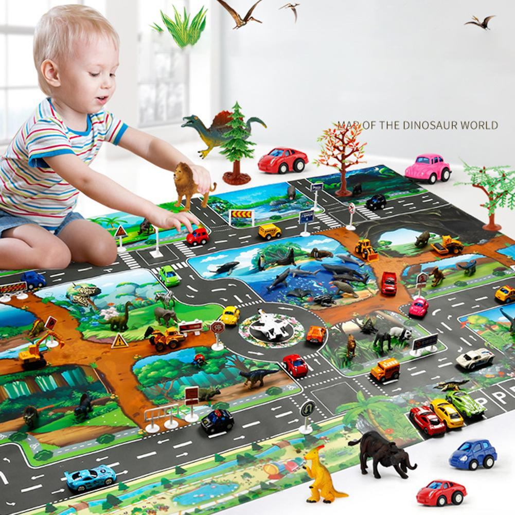 100x130cm Traffic Route Dinosaur World Pattern Play Mat Pad Carpet Room Decor Playmat Puzzles Carpets Nursery Play DropShipping