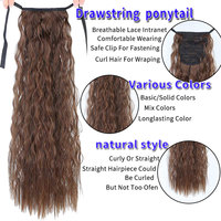 LUPU 18 Inches Long Afro Curly Drawstring Ponytail Synthetic Hair Extensions Hairpieces Pony Tail Fake Hair Heat Resistant