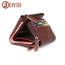 JOYIR Men Wallets Genuine Leather Wallets For Credit Card Holder Coin Purse Zipper&Hasp Trifold Wallet RFID Portomonee Male high quality rfid blocking genuine leather short wallet men solid hasp card holder purse trifold men s wallet