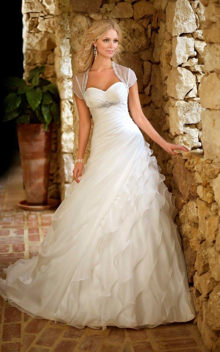 Hot Sale Sweetheart Princess Custom Made Organza Ruffle Wedding Dress 2016 New Bridal Gown With Jacket Vestido De Noiva
