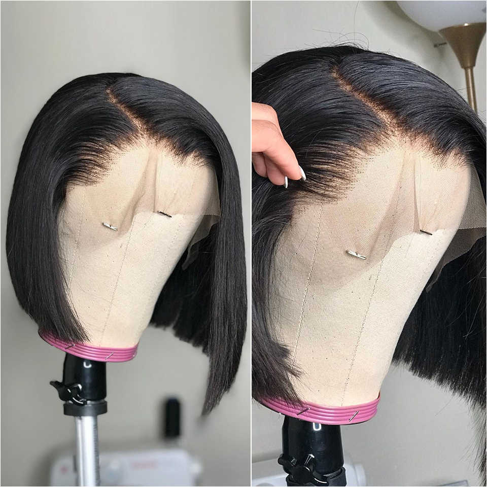 Pelucas de Bob corto, pelucas de cabello humano con frente de encaje recto para mujeres, peluca de encaje frontal sin pegamento con pelo de bebé 13x4 Bob