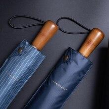 Parachase Sun Umbrella Men Business Wooden Handle Folding Umbrella Windproof 10 Ribs Anti UV Parasol Golf Clear Umbrellas UPF50+