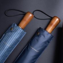 Parachase מטריית שמש גברים עסקים עץ ידית מתקפל מטריית Windproof 10 צלעות אנטי UV שמשייה גולף מטריות ברורות UPF50 +