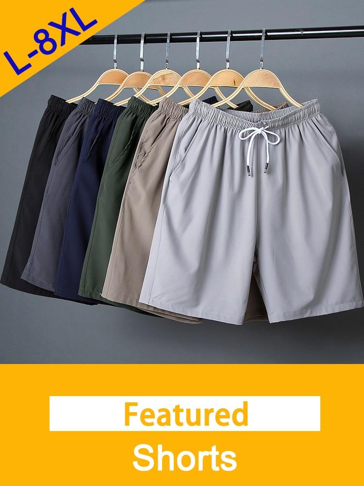 Summer Shorts Beachwear Elastic-Waist Breathable Plus-Size Male Straight L-8XL Fast-Dry