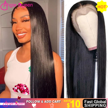 Wig Lace-Wig Human-Hair Straight 360 for Women 180-% Brazilian Natural Black Angie-Queen