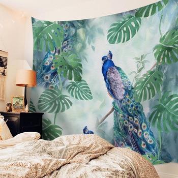 Wandbehang blauer Pfau