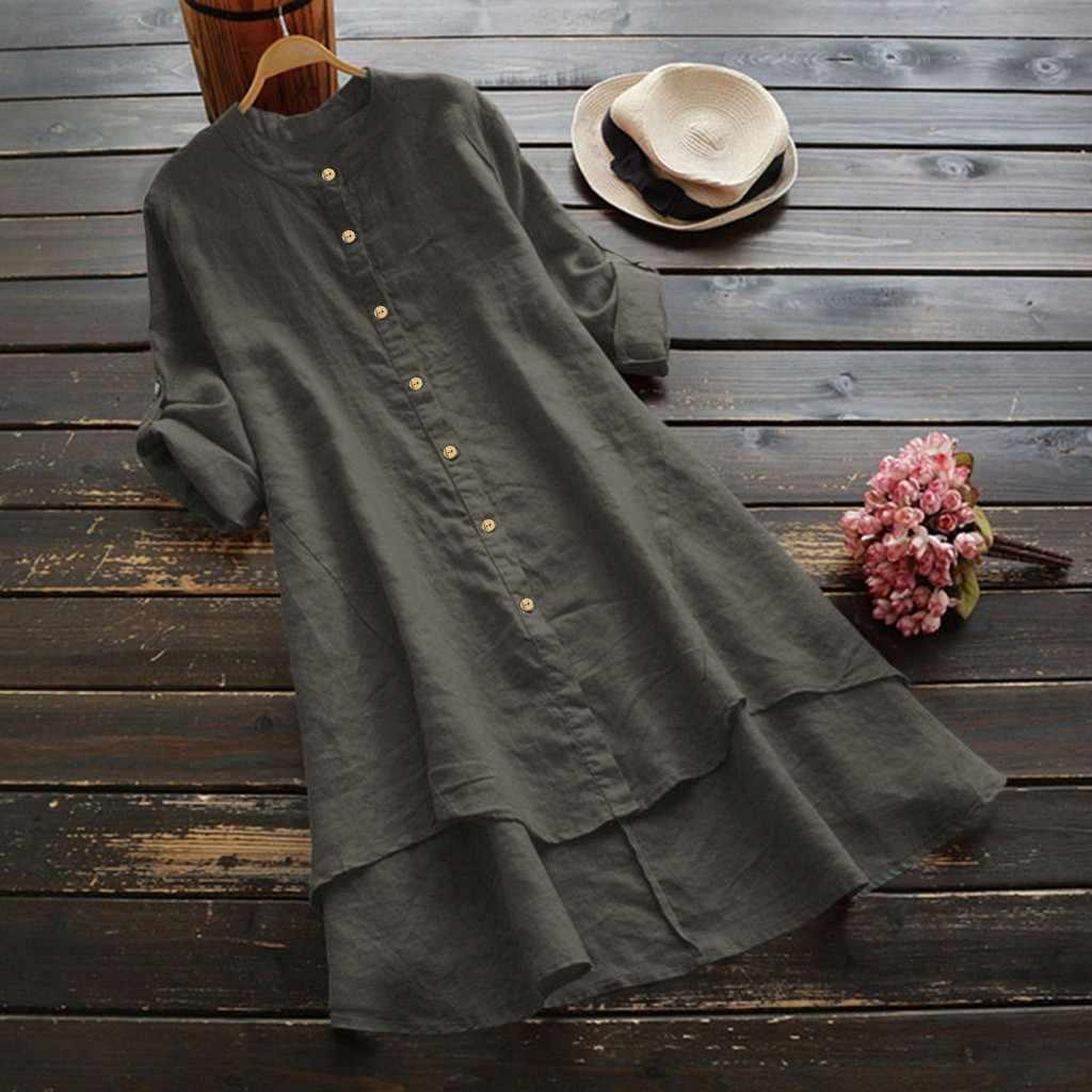 플러스 사이즈 캐주얼 드레스 여름 단추 느슨한 리넨 긴 소매 긴 공식적인 흰 드레스 여성 우아한 G3