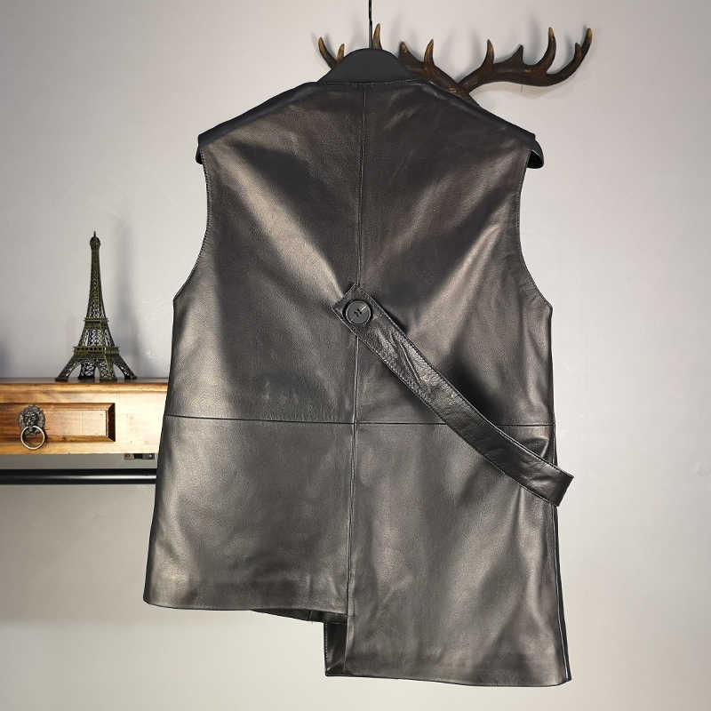 100% Real Lederen Vest Vrouwen Designer Onregelmatige Korte Schapenvacht Mouwloze Jas Merk Ol Stijl Double Breasted Zwart Vest